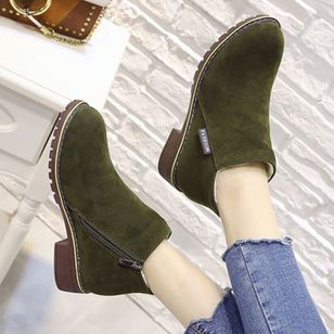 Warm and velvet thick and short boots, European and American leisure round head Martin velvet noodles