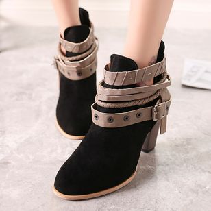 Buckle Ankle Boots Cone Heel Shoes
