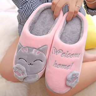 Plush Women Winter Home Slippers Cartoon Cat Home Shoes Bedroom Flat Warm Slippers