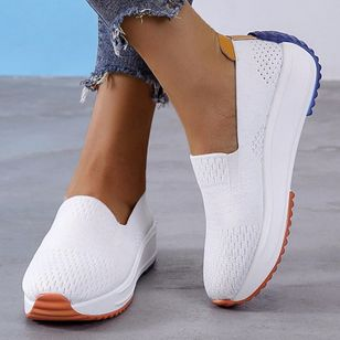 Women's Hollow-out Closed Toe Fabric Wedge Heel Sneakers (104147786)