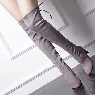 New Women's Over Knee High Boot Lace Up Stretch Slim Thigh high heel Long Thigh Boots Shoes