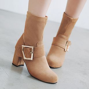 Buckle Mid-Calf Boots Chunky Heel Shoes