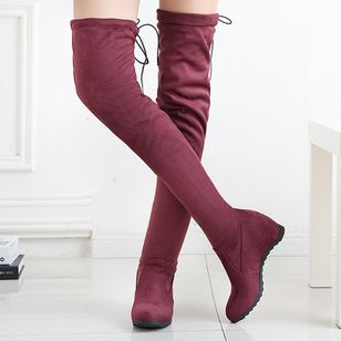 Over The Knee Boots Wedge Heel Shoes