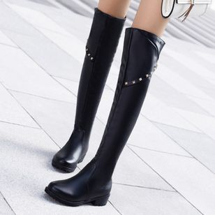 Rivet Knee High Boots Chunky Heel Shoes