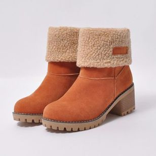Autumn and Winter Women Suede Warm Casual Snow Boots Student Thick Heel Short Boots