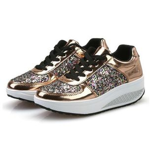 Bling Platform Sneakers Women Fashion Golden Sequin Waterproof Women Flat Shoes Spring Autumn Lace Up Casual Shoes(Color:Gold,White,Silver)