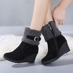 Buckle Zipper Mid-Calf Boots Wedge Heel Shoes