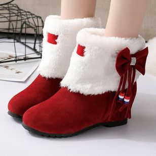 Bowknot Mid-Calf Boots Flat Heel Shoes