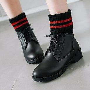 Lace-up Mid-Calf Boots Chunky Heel Shoes