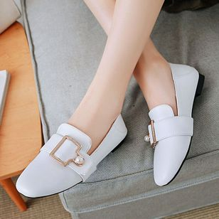 Imitation Pearl Buckle Square Toe Flat Heel Shoes