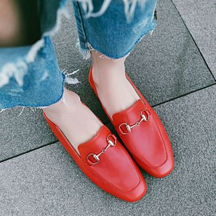 Square Toe Flat Heel Shoes