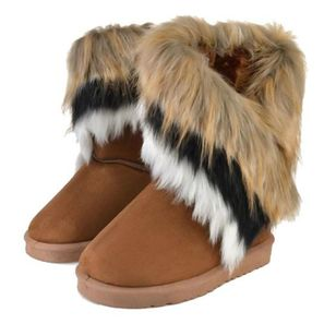 Female Comfortable Imitation Fox Fur Warm Snow Boots Casual Flats Mid Calf All Match