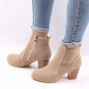 2018 Autumn&winter Fashion Women shoes Retro ankle boots High heels Zipper Boots Plus Size