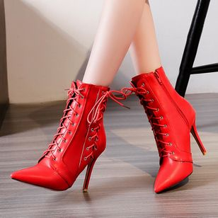 Lace-up Mid-Calf Boots Stiletto Heel Shoes