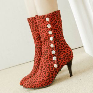 Rivet Mid-Calf Boots Stiletto Heel Shoes