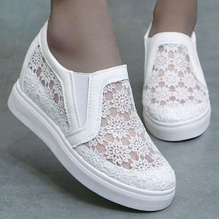 Women's Hollow-out Elastic Band Closed Toe Lace Wedge Heel Sneakers (100668738)