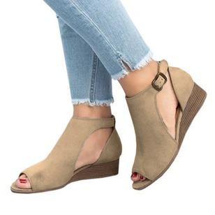 Buckle Wedge Heel Shoes