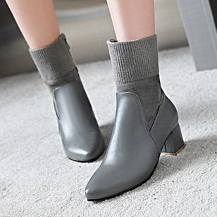 Zipper Mid-Calf Boots Chunky Heel Shoes