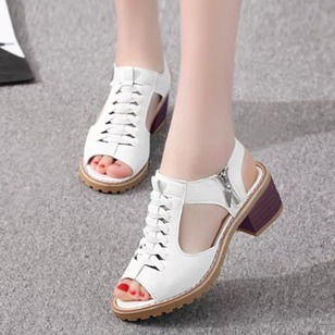 Zipper Lace-up Low Heel Shoes