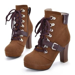 Buckle Lace-up Mid-Calf Boots Chunky Heel Shoes