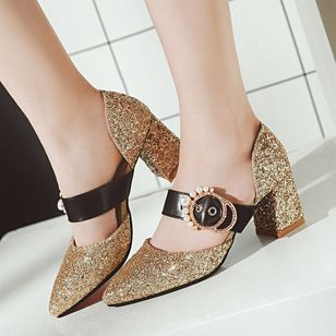 Chaussures Talon bottier Bout pointu Perles d'imitation Paillettes brillantes