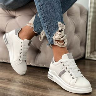 Women's Lace-up Low Top Flat Heel Sneakers (146979480)