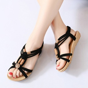 Braided Strap Wedge Heel Shoes