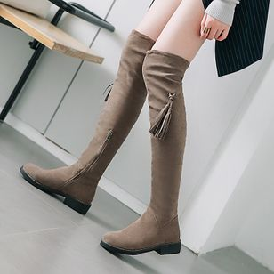 Tassel Over The Knee Boots Chunky Heel Shoes