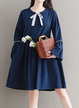 Color Block Ruffles Long Sleeve Above Knee Shift Dress