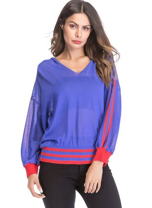Color Block V-Neckline Long Sleeve Casual T-shirts