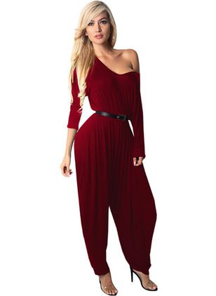 Solid Long Sleeve Backless Jumpsuits & Rompers
