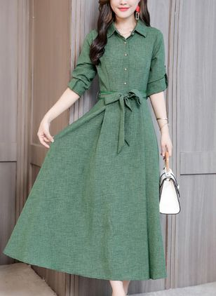 Solid Buttons Shirt Maxi Shift Dress