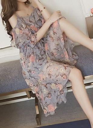 Floral Slip Short Sleeve High Low Shift Dress