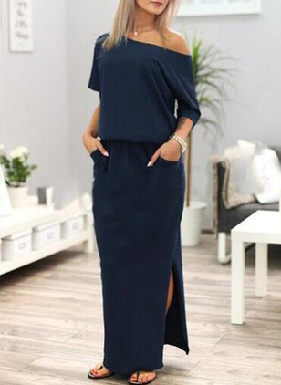 Solid Pockets 3/4 Sleeves Maxi Shift Dress