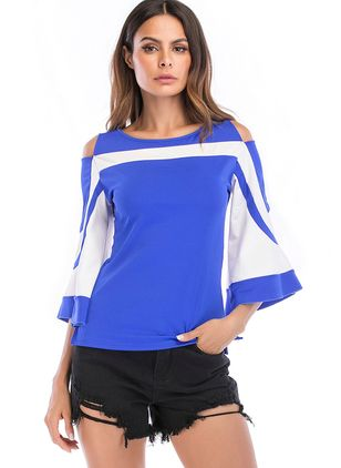 Color Block Camisole Neckline 3/4 Sleeves Casual T-shirts