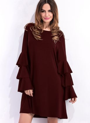 Solid Ruffles Long Sleeve Mini Shift Dress