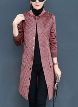 Long Sleeve Scoop Neck Padded Coats