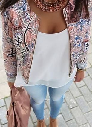 Mode Floral Slim Casual Summer Blazer Suit Veste Manteau Survêtement