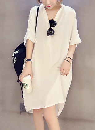 Solid Buttons Half Sleeve Knee-Length Shift Dress