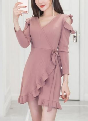 Solid Ruffles Long Sleeve Above Knee Shift Dress