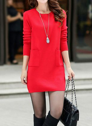 Solid Pockets Long Sleeve Above Knee Shift Dress