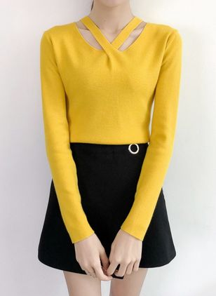 Others Solid Tight Regular Sweaters