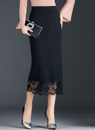 Solid Mid-Calf Elegant Lace Skirts