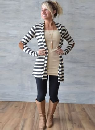 Others Stripe Loose Long None Sweaters