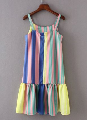 Stripe Ruffles Tank Above Knee Shift Dress