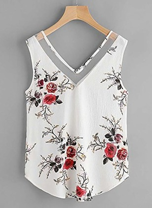 Floral Cute Camisole Neckline Sleeveless Blouses