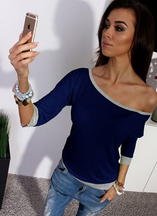 Color Block Oblique Neckline Long Sleeve Casual T-shirts
