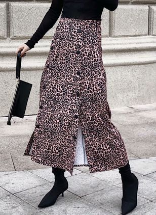 Leopard Maxi Vintage Buttons Skirts
