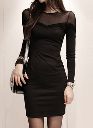 Solid Pencil Long Sleeve Above Knee Sheath Dress