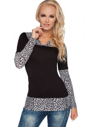 Leopard V-Neckline Long Sleeve Casual T-shirts